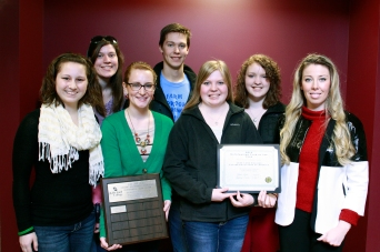 FEA winners of 2014 club of the year.jpg: Lake Land College's Future Educators of America Club received the Outstanding Club Award at the college's 2014 Annual Club Recognition Luncheon held recently. Pictured front row from left to right are Allison Wending, Altamont; Emily Steumke, Altamont; Alexandria Binion, Arthur and Tanille Ulm, Future Educators of America advisor. In the back row from left to right are Heather Began, Altamont; Matt Burrow, Altamont; and Audrey O'Dell, Altamont.
