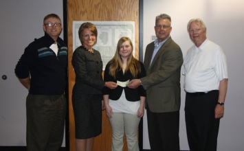 Pictured from left are Mike Rudibaugh, geography and Earth science instructor; Tina Stovall, vice president for student services; Keera Ray, Sullivan; Bruce Steinke, member of the Shelbyville Economic Development Team; and David Young, coordinator of the Shelbyville Economic Development Team.