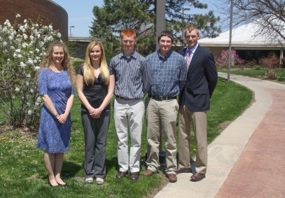 Several Lake Land College Honors Program students were recognized recently at the annual honors luncheon. There were six students in the program this year and those who presented their research at the luncheon are pictured here. From left are: Maria Boerngen, honors program advisor; Adriene Lane, Sullivan; Todd Goeckner, Teutopolis; Daniel Brown, Neoga; and Kolten Postin, Moweaqua.