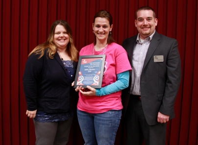 "Jerri ""JJ"" Blazich of Neoga was recently honored with Lake Land College's Adult Student of the Year Award due to her strong commitment to education, community involvement and exceptional leadership skills. Pictured here from left are: Valerie Lynch, director of Student Life and nominator; Blazich; and Dustin Heuerman, criminal justice instructor and nominator."